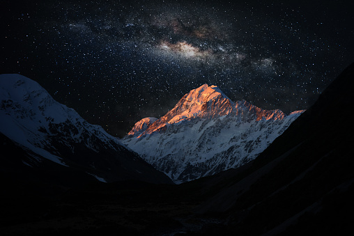 Scenic View Of Snowcapped Mountains Against Star Field - gettyimageskorea