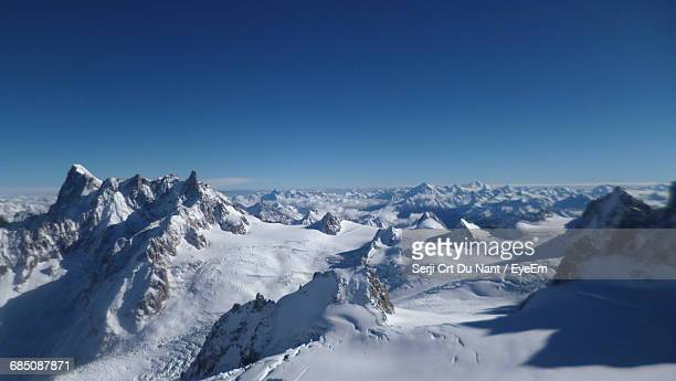 Scenic View Of Snowcapped Mountains During Sunny Day