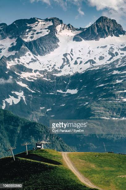 scenic view of snowcapped mountains - midi pyrénées stock photos and pictures