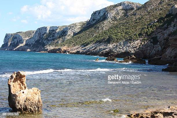 scenic view of spanish rocky coastline - denia stock pictures, royalty-free photos & images