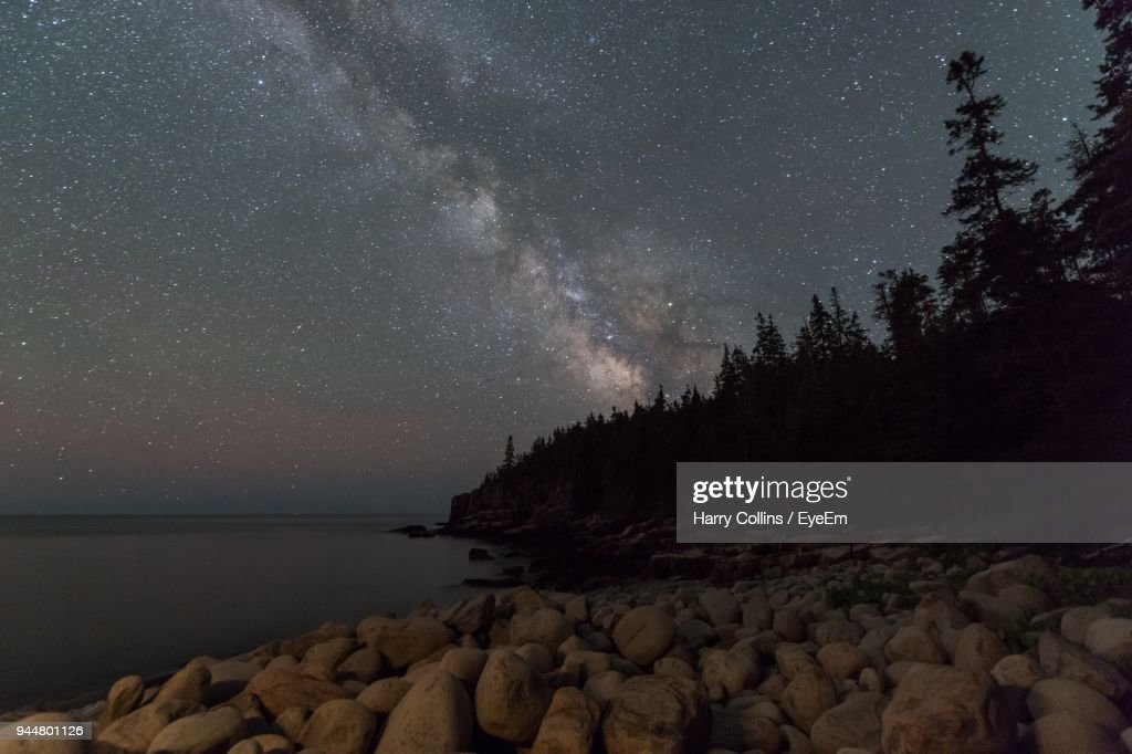 Scenic View Of Starry Night : Stock Photo