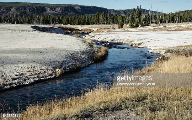 scenic view of stream during winter - barr stock pictures, royalty-free photos & images