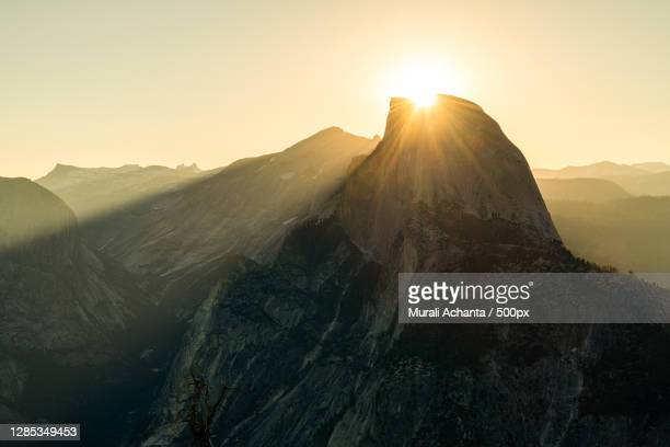 scenic view of sunrise over half dome,yosemite national park,california,united states,usa - central california stock pictures, royalty-free photos & images