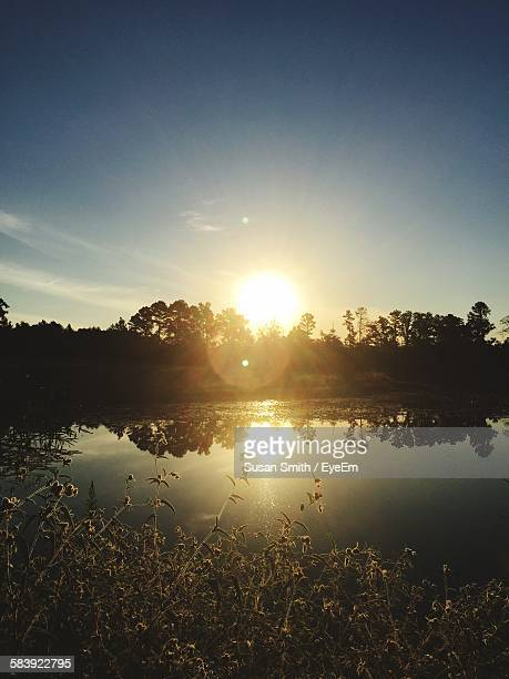 Scenic View Of Sunset Over Lake And Trees