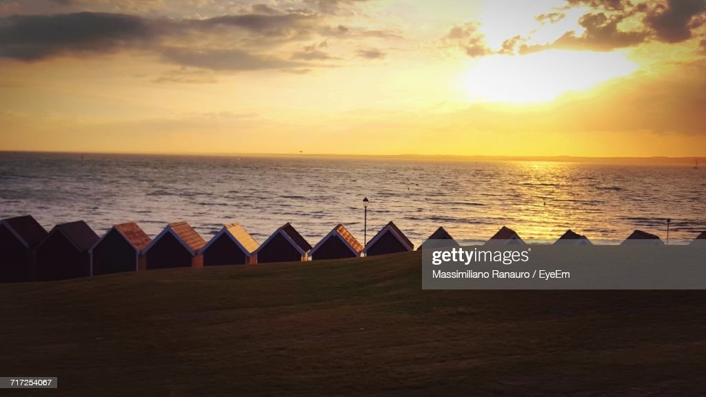 Scenic View Of Sunset Over Sea : Stock Photo