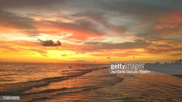 scenic view of sunset over sea - siesta key stock pictures, royalty-free photos & images