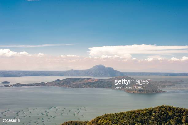 scenic view of taal volcano, against sky - taal volcano stock photos and pictures