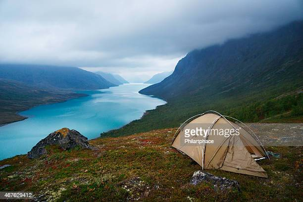 scenic view of tent mountains and lake Gjende in Jotunheimen
