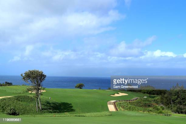Scenic view of the 12th hole during a practice round prior to the Sentry Tournament Of Champions at the Plantation Course at Kapalua Golf Club on...