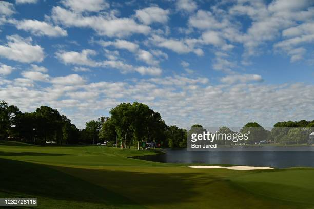 Scenic view of the 14th hole during the first round of the Wells Fargo Championship at Quail Hollow Club on May 6, 2021 in Charlotte, North Carolina.