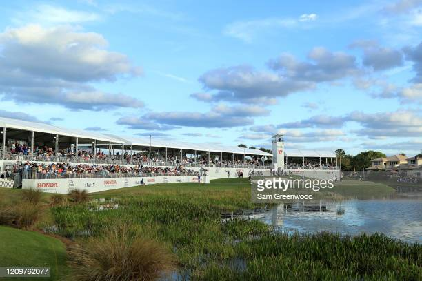 A scenic view of the 16th hole during the final round of the Honda Classic at PGA National Resort and Spa Champion course on March 01 2020 in Palm...
