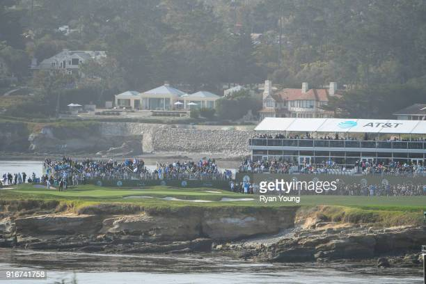 A scenic view of the 17th hole during the third round of the ATT Pebble Beach ProAm at Pebble Beach Golf Links on February 10 2018 in Pebble Beach...