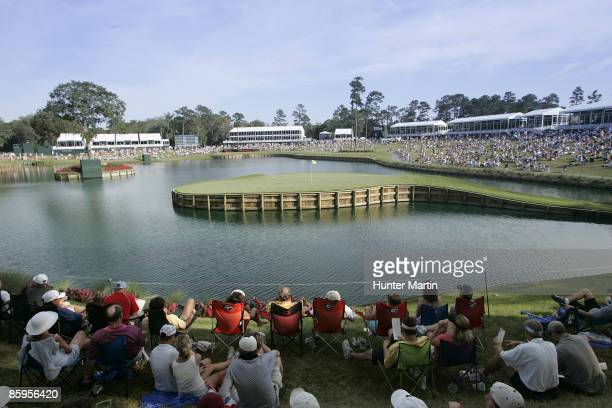 A scenic view of the 17th hole during the third round of THE PLAYERS Championship held on THE PLAYERS Stadium Course at TPC Sawgrass in Ponte Vedra...