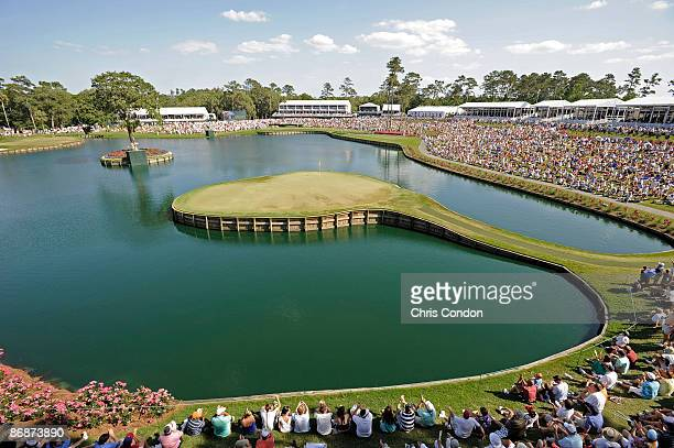 A scenic view of the 17th hole during the third round of THE PLAYERS Championship on THE PLAYERS Stadium Course at TPC Sawgrass held on May 9 2009 in...