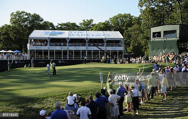 A scenic view of the 18th green during the second round of The Barclays held at the Ridgewood Country Club on August 22 2008 in Paramus New Jersey...