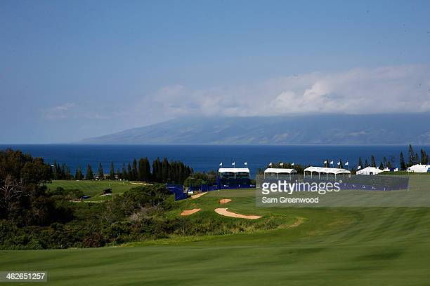 A scenic view of the 18th hole during a practice round prior to the Hyundai Tournament of Champions at the Plantation Course at Kapalua Golf Club on...