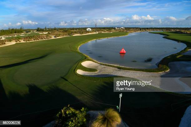 A scenic view of the 18th hole during practice for the Hero World Challenge at Albany course on November 29 2017 in Nassau Bahamas