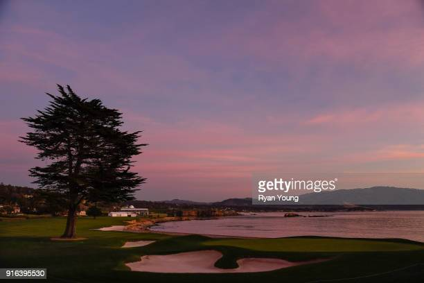 A scenic view of the 18th hole during sunset following the second round of the ATT Pebble Beach ProAm at Pebble Beach Golf Links on February 9 2018...