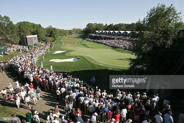 Scenic view of the 18th hole during the final round of the 2007 Wachovia Championship held at Quail Hollow Country Club in Charlotte, North Carolina...