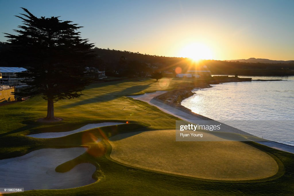 A scenic view of the 18th hole during the first round of the AT&T Pebble Beach Pro-Am at Pebble Beach Golf Links, on February 8, 2018 in Pebble Beach, California.