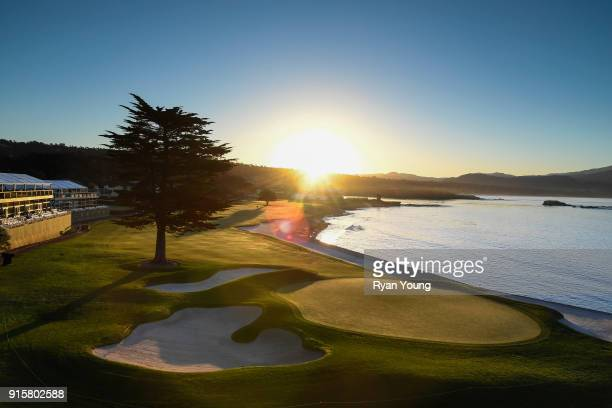 A scenic view of the 18th hole during the first round of the ATT Pebble Beach ProAm at Pebble Beach Golf Links on February 8 2018 in Pebble Beach...