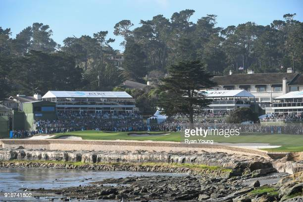A scenic view of the 18th hole during the third round of the ATT Pebble Beach ProAm at Pebble Beach Golf Links on February 10 2018 in Pebble Beach...