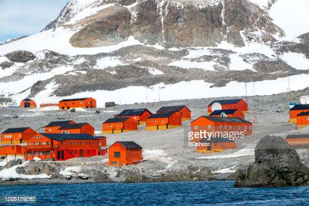 scenic view of the antarctic peninsula (science station esperanza) - headquarters stock pictures, royalty-free photos & images