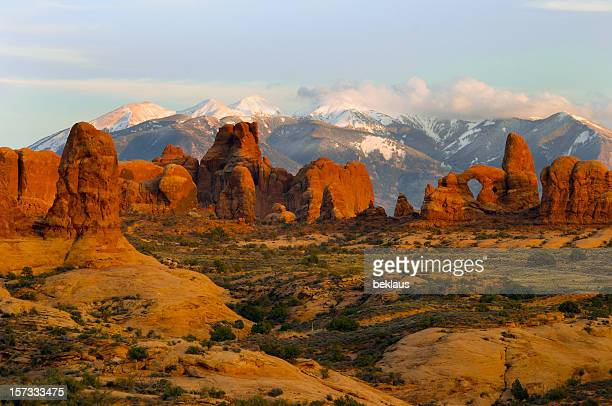 a scenic view of the arches national park - moab utah stock photos and pictures