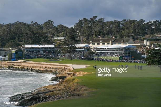 Scenic view of the eighteenth hole during the third round of the ATT Pebble Beach ProAm at Pebble Beach Golf Links on February 9 2019 in Pebble Beach...