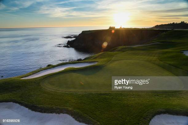 A scenic view of the eighth hole during sunset following the second round of the ATT Pebble Beach ProAm at Pebble Beach Golf Links on February 9 2018...
