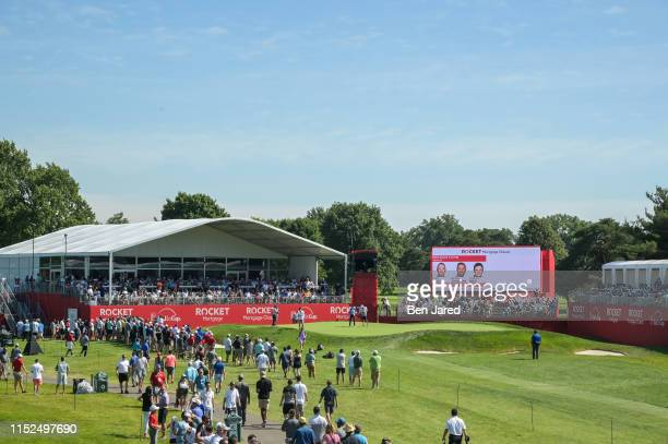 Scenic view of the fifteenth green during the first round of the Rocket Mortgage Classic at Detroit Golf Club on June 27, 2019 in Detroit, Michigan.