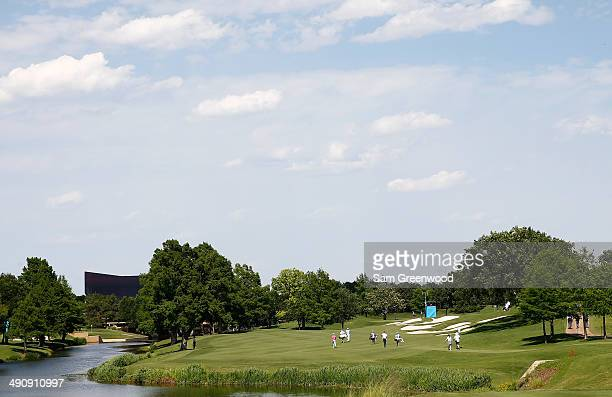 Scenic view of the fifth hole during the first round of the HP Byron Nelson Championship at the TPC Four Seasons Resort on May 15, 2014 in Irving,...