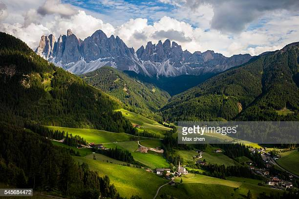 Scenic view of the Funes valley at the village of Santa Maddalena/St. Magdalena, Italy.