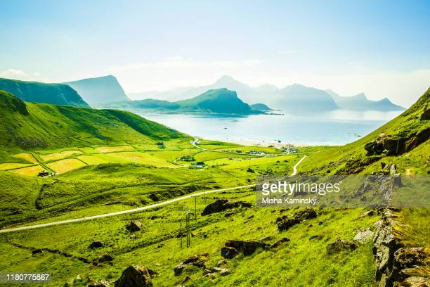 scenic view of the haukland beach, lofoten islands, norway - horizontal stock pictures, royalty-free photos & images