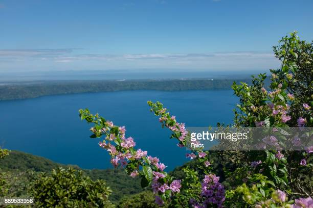 A scenic view of the Laguna de Apoyo located between Granada and Masaya Nicaragua and is a volcanic lake which forms part of the Apoyo lagoon natural...