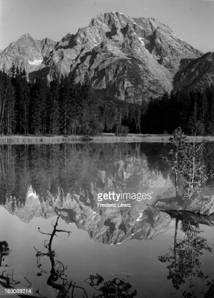 A scenic view of the lake mountain Moran and trees In Tetons Wyoming 1955