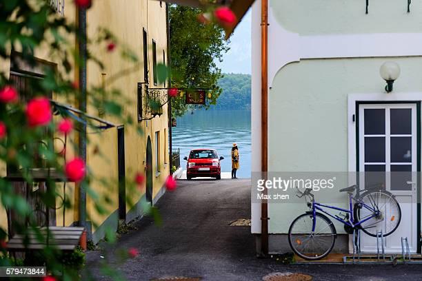 Scenic view of the lakeside town Hallstatt, Austria.