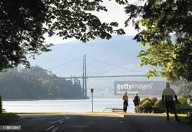 A scenic view of the Lions Gate Bridge from Stanley Park photographed on June 3 2011 in Vancouver Britich Columbia Canada