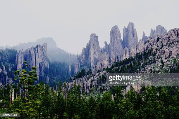 scenic view of the needles at black hills against sky - black hills stock pictures, royalty-free photos & images