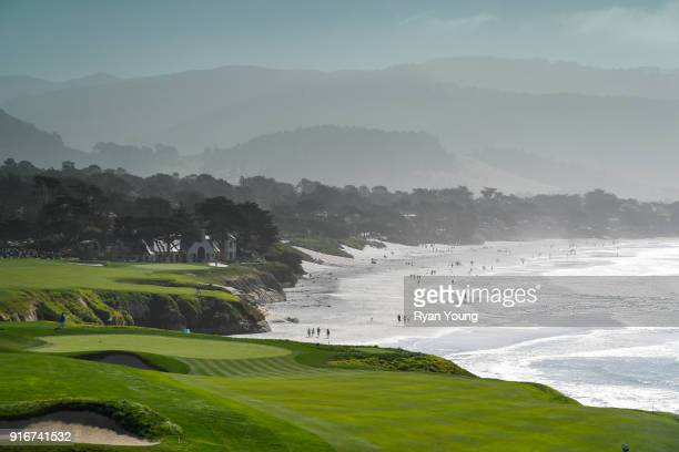 A scenic view of the ninth hole during the third round of the ATT Pebble Beach ProAm at Pebble Beach Golf Links on February 10 2018 in Pebble Beach...