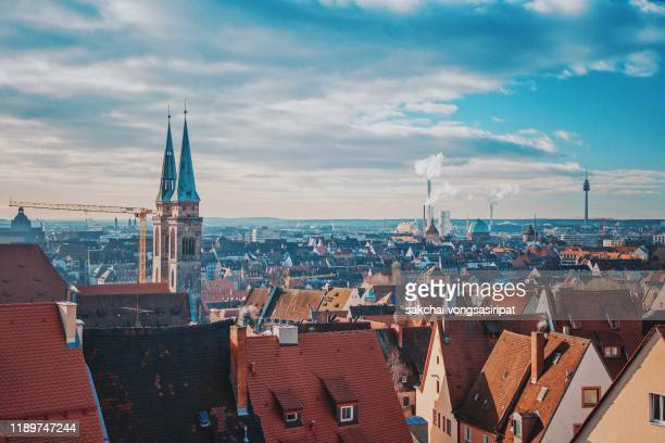 scenic view of the old town of nuremberg city, germany, europe - ニュルンベルク ストックフォトと画像