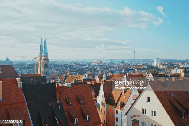 scenic view of the old town of nuremberg city in germany, europe - baviera imagens e fotografias de stock