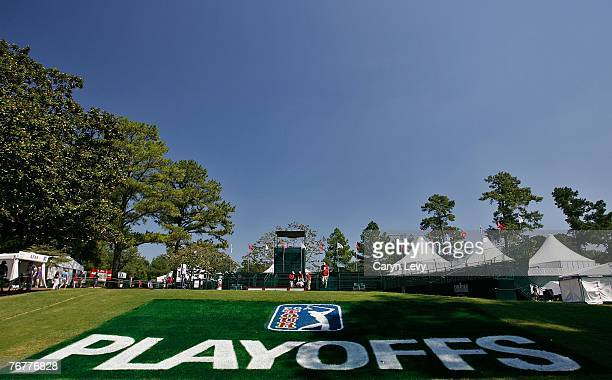 A scenic view of the PGA TOUR Playoffs logo painted on the grass during the third round of THE TOUR Championship the final event of the new PGA TOUR...