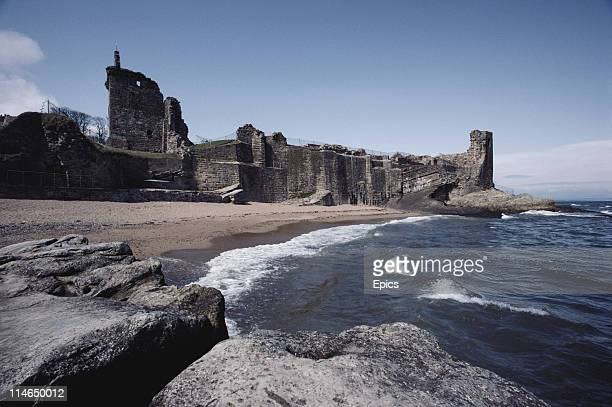 A scenic view of the ruins of St Andrews castle which is situated on the coastal royal burgh of St Andrews Fife Scotland circa 1987