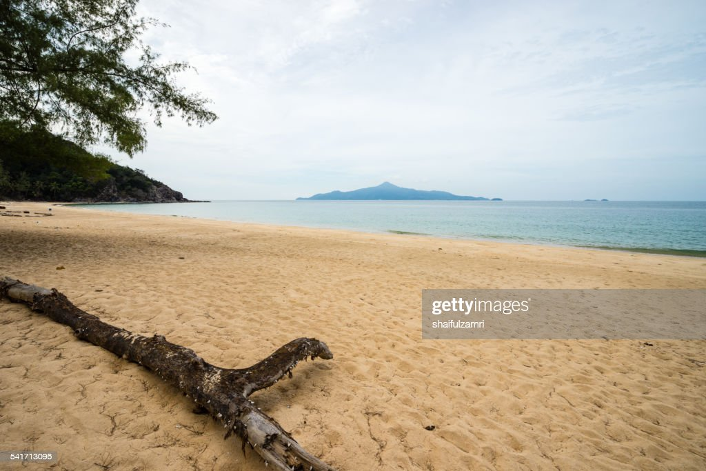 Scenic view of the sandy beach in Sibu island of Johor, Malaysia : Stock Photo