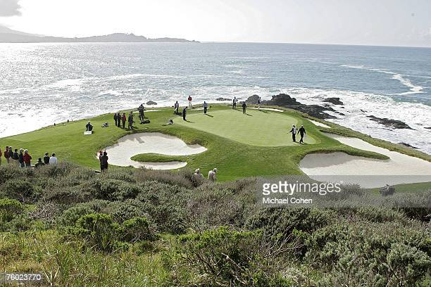 Scenic view of the seventh hole during the fourth round of the ATT Pebble Beach National ProAm on the Pebble Beach Golf Links in Pebble Beach...