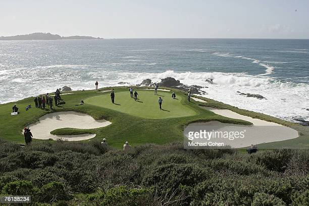 Scenic view of the seventh hole during the fourth round of the AT&T Pebble Beach National Pro-Am on the Pebble Beach Golf Links in Pebble Beach,...