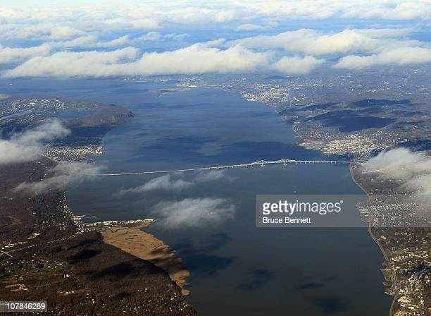 A scenic view of the Tappan Zee Bridge photographed from an airplane on December 8 2010 in New York City