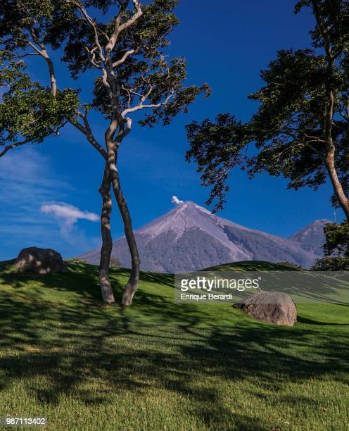 A scenic view of the Volcán de Fuego during practice for the PGA TOUR Latinoamérica Guatemala Stella Artois Open at La Reunion Golf Resort Fuego Maya...