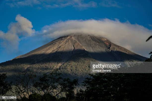 Scenic view of the Volcán de Fuego volcano during the first round of the PGA TOUR Latinoamérica Guatemala Stella Artois Open at La Reunion Golf...